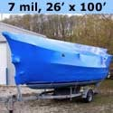 Boat Shrink Wrap 26 feet X 100 feet x 7 mil BLUE