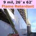 Flame Retardant Shrink Wrap, WHITE, 26 feet x 62 feet x 9 mil